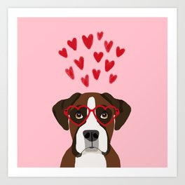 Boxer head love hearts valentines day dog breed must have gifts Art Print