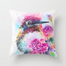Anna's Hummingbird with Roses Throw Pillow