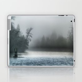 Remnant Of A Washed Out Bridge On A Foggy Afternoon Laptop & iPad Skin