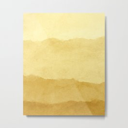 Ombre Waves in Gold Metal Print