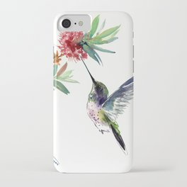 Hummingbird. elegant bird and flowers, minimalist bird art beautiful bird painting iPhone Case
