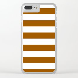 Horizontal Stripes - White and Brown Clear iPhone Case