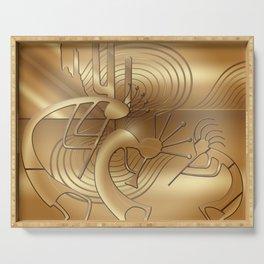 Magical Kokopelli in Bronze Mist Serving Tray