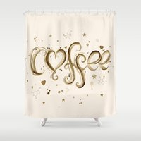 coffee Shower Curtains featuring Coffee by Olechka