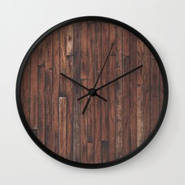 Cherry Stained Wood Barn Board Textue Wall Clock