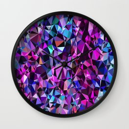 geometric triangle polygon pattern abstract in pink blue black Wall Clock