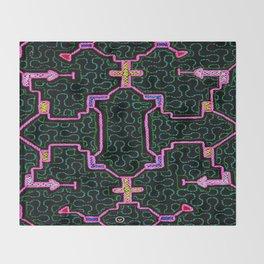 Song for Haromony - Traditional Shipibo Art - Indigenous Ayahuasca Patterns Throw Blanket