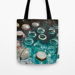 Ball Jars in Blue Tote Bag