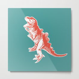 Dino Pop Art - T-Rex - Teal & Dark Orange Metal Print