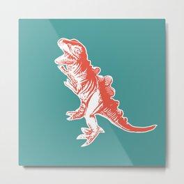 Dino Pop Art - T-Rex - Teal & Dark Orange Metal Print