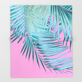 Palm Leaves Pink Blue Vibes #1 #tropical #decor #art #society6 Throw Blanket