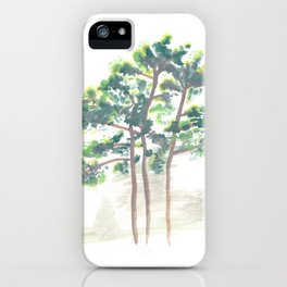 Northern Michigan Watercolor Pine Trees iPhone Case
