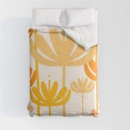 Bali Flowers Floral Pattern in Mustard Orange Cream Comforters