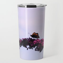 Small tortoiseshell butterfly on buddleia Travel Mug