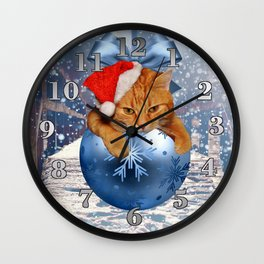 Christmas Cat and Snow Wall Clock