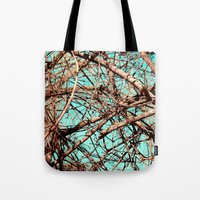 tangled Tote Bags featuring Tangled by Slava Bowman