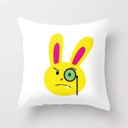 One Tooth Rabbit Emoticons Bunny Face with Monocle Throw Pillow
