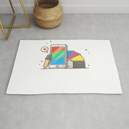 Phone with rgb colors and cmyk colors palette Rug