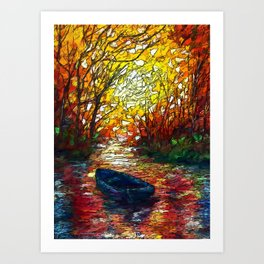 OLena Art, sunset, landscape, artwork, artistic, impressive, illustration, painting, sceni OLena Art Art Print