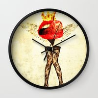 lips Wall Clocks featuring Lips by Alec Goss