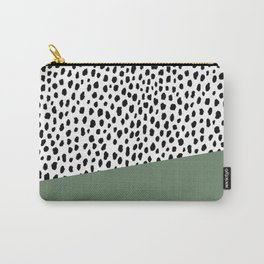Dalmatian Spots with Sage Green Stripe Carry-All Pouch