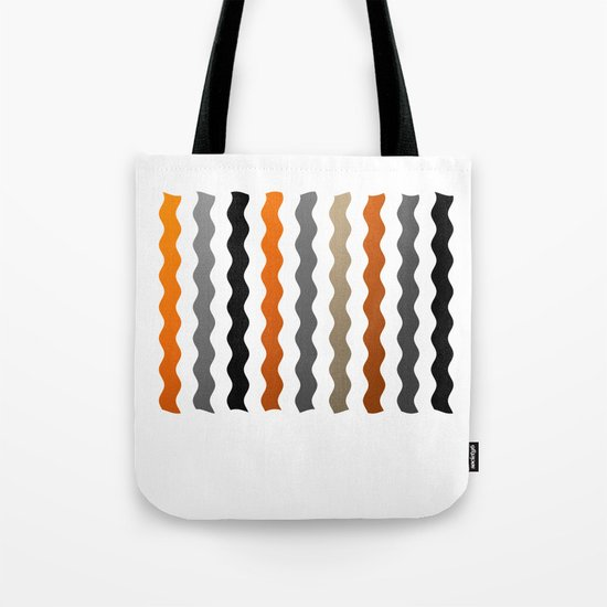 Vertical Waves - Metallic Gold, Silver and Black Vertical Wavy Stripes Tote Bag