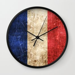 Vintage Aged and Scratched French Flag Wall Clock