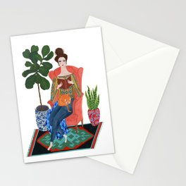 Cat lady reading Stationery Cards