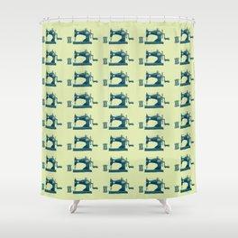 Vintage Machine Sewing Needle Pattern Shower Curtain