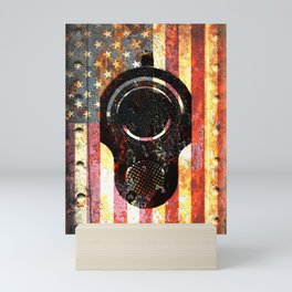 M1911 Colt 45 On Rusted American Flag Mini Art Print