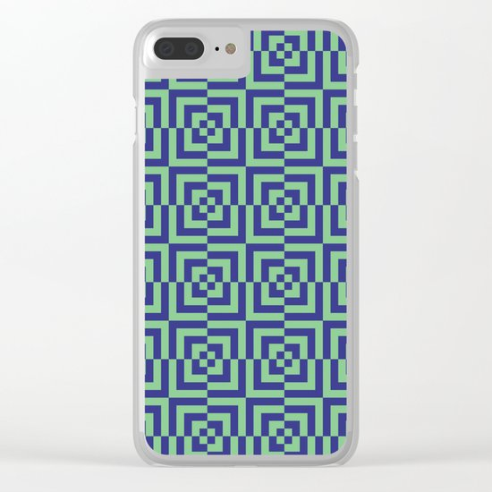 Blue and green - Optical Game 23 Clear iPhone Case