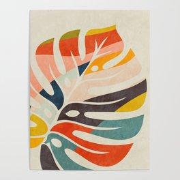 shape leave modern mid century Poster