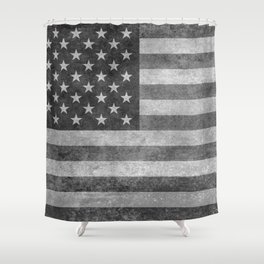 American flag - retro style in grayscale Shower Curtain