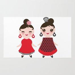 Spanish Woman flamenco dancer. Kawaii cute face with pink cheeks and winking eyes. Gipsy girl Rug