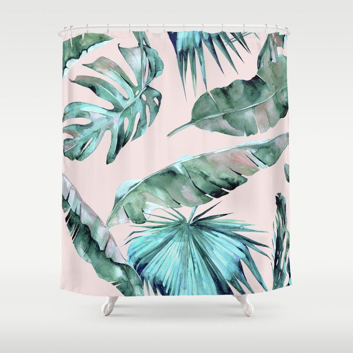 Attrayant Tropical Palm Leaves Turquoise Green Coral Pink Shower Curtain