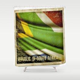 South Africa grunge sticker flag Shower Curtain