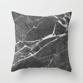 Matte Black Marble Throw Pillow