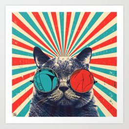 The Spectacled Cat Art Print