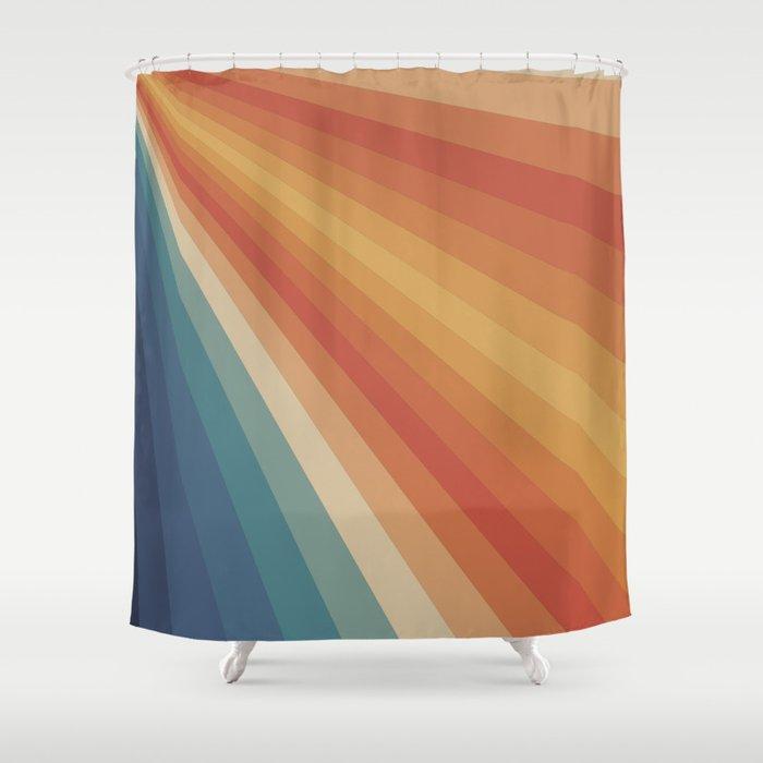 Retro 70s Sunrays Shower Curtain