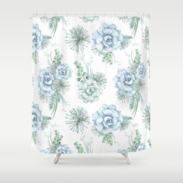 Succulents Pastel Mint Green Turquoise Teal Sky Blue Pattern Shower Curtain