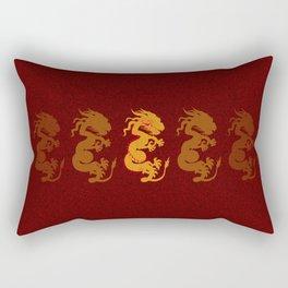 Golden Dragon Pattern Rectangular Pillow
