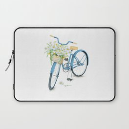 Vintage Blue Bicycle with Camomile Flowers Laptop Sleeve