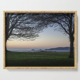 Dawn at Mumbles headland Serving Tray