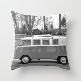 Retro Van (Black and White) Throw Pillow