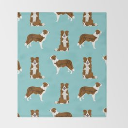Border Collie red coat dog breed pet friendly gifts for collie lovers Throw Blanket