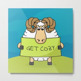 "Cute hand drawn Lamb with sign ""Get Cozy"" Metal Print"