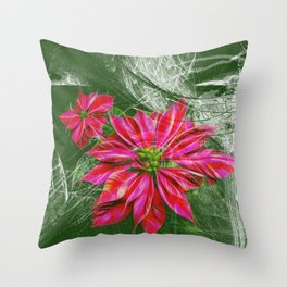 Abstract vibrant red poinsettia on green texture Throw Pillow