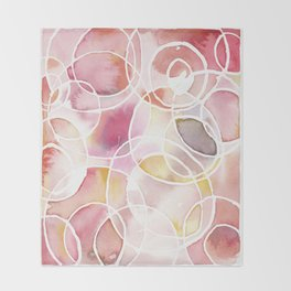 Cantaloupe and Berry Blush Watercolour Throw Blanket