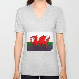 Welsh Flag with Audience Unisex V-Neck