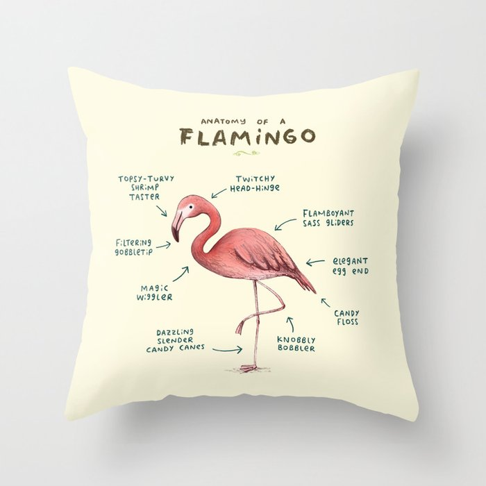 Anatomy Of A Flamingo Throw Pillow By Sophiecorrigan Society6